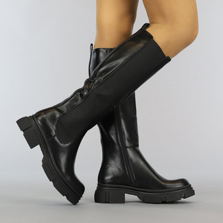 NEW2010 Lange Zwarte Lederlook Chelsea Boots