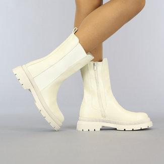 NEW2010 Basic Beige Lederlook Chelsea Boots
