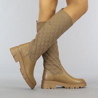 NEW2010 Bruine Geruite Sock Boots