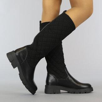 NEW2010 Zwarte Geruite Sock Boots