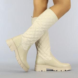 NEW2010 Beige Geruite Sock Boots