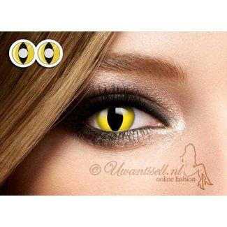 Crazy-Lenzen: Gele Cat Eye Kleurlenzen