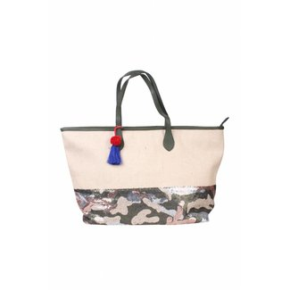 Stoere Army Style Handtas/Shopper met Lovertjes