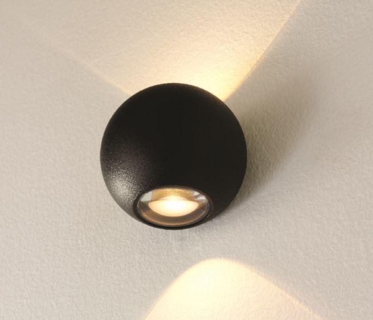 Wandlamp LED Denver Mat Zwart IP54 10cm Ø