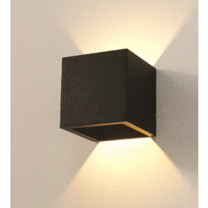Artdelight Wandlamp LED Cube Zwart IP54