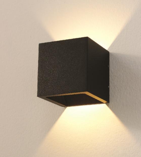 Artdelight Wandlamp LED Cube Zwart IP54