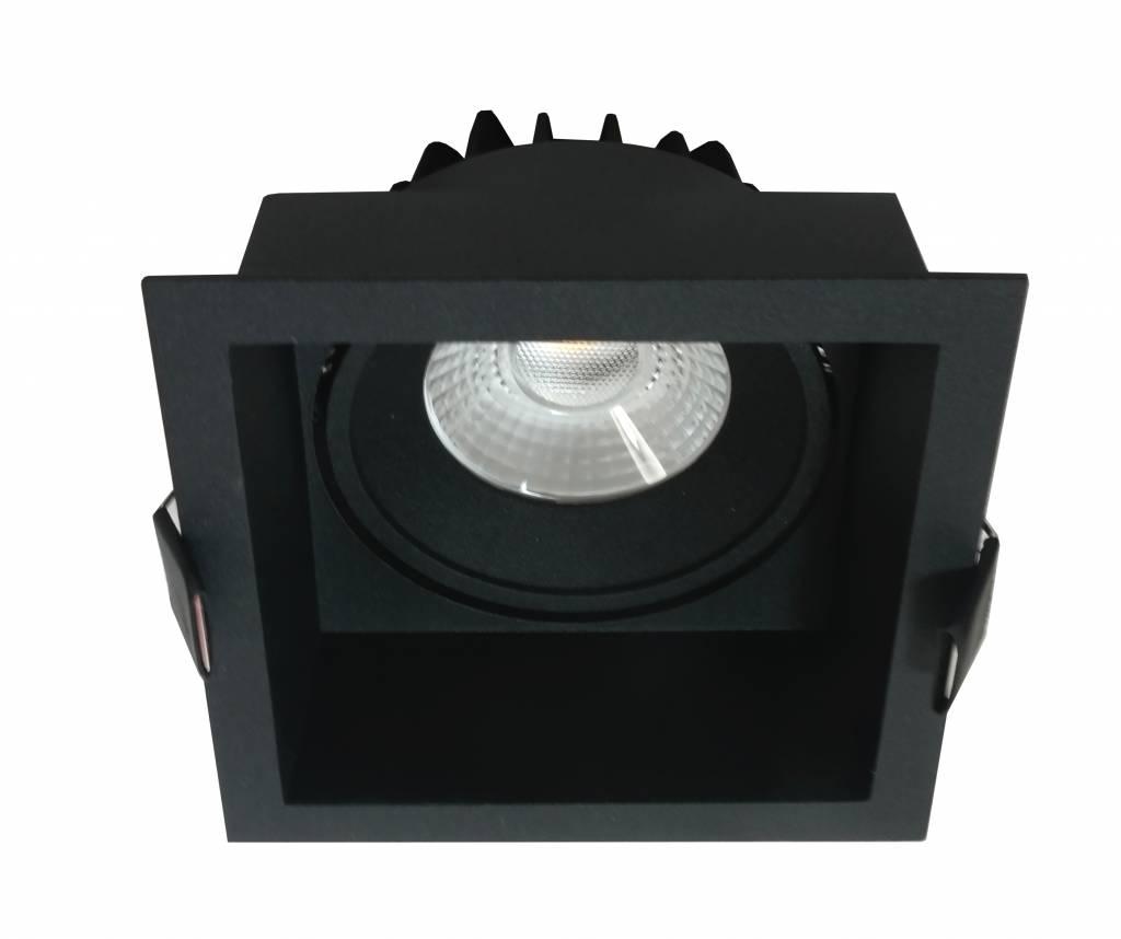 Inbouwspot Vierkant Zwart 10watt Led Ip44