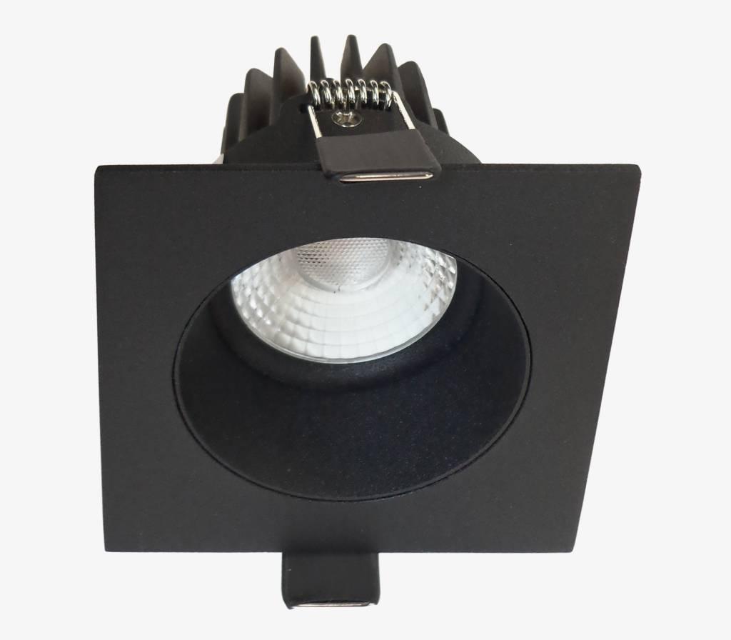 Inbouwspot LED Vierkant Verdiept Mat Zwart IP44