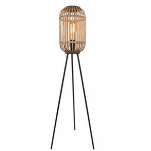 Vloerlamp Malaca Mat Zwart & Rotan