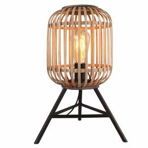 Tafellamp Malaca Mat Zwart & Rotan