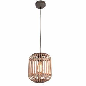 Hanglamp Malaca Mat Zwart & Rotan 1Lichts