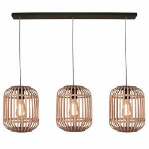 Hanglamp Malacca Mat Zwart & Rotan 3Lichts