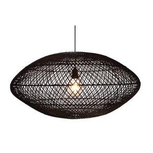 Hanglamp UFO Rotan Zwart 80 cm