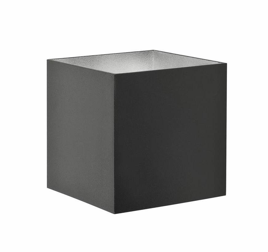 Wandlamp Block Vierkant Zwart Zilver 10cm