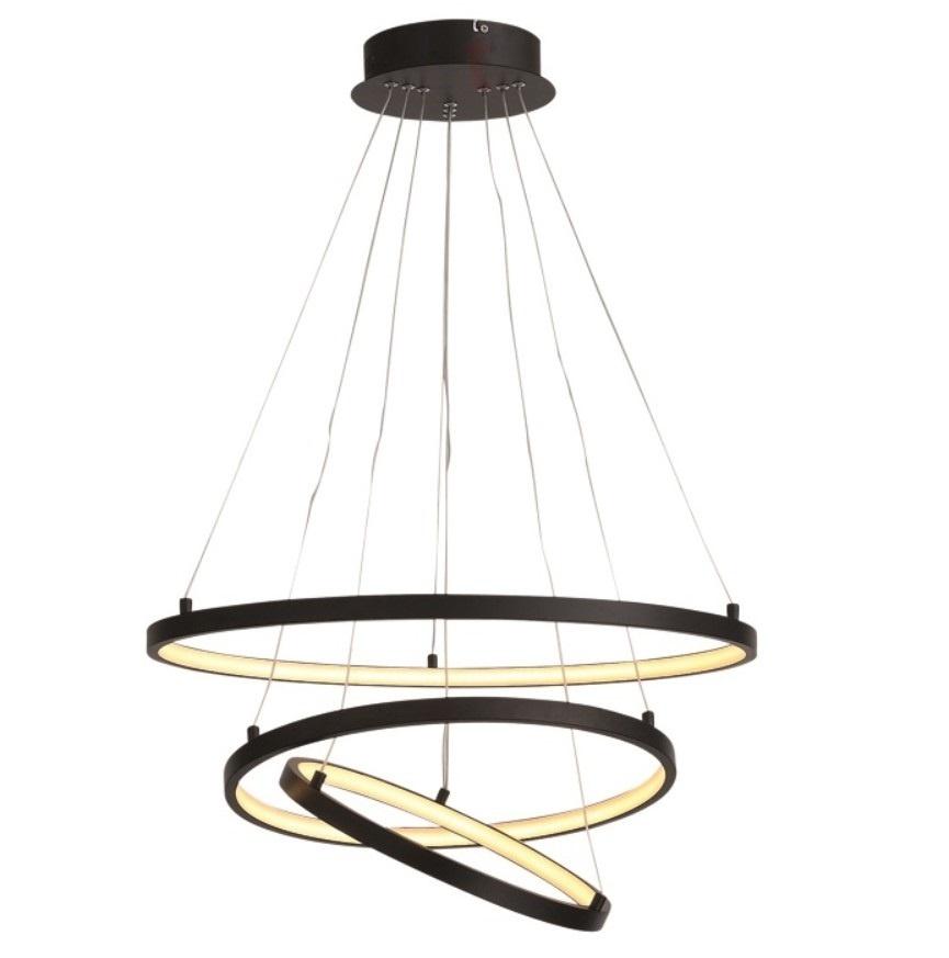 Hanglamp Cirkels Mat Zwart Led incl. Dimmer 60cm Ø