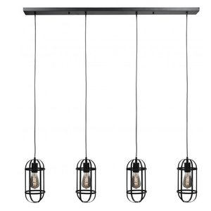 Hanglamp Longo Mat Zwart 4 Lichts