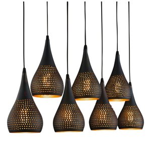 Hanglamp Kegel Vintage Black Brown 7 Lichts