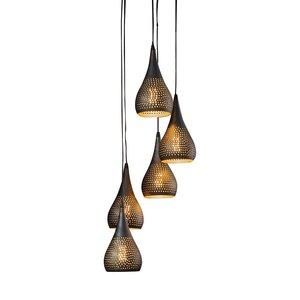 Hanglamp Kegel Vintage Black Brown 5 Lichts