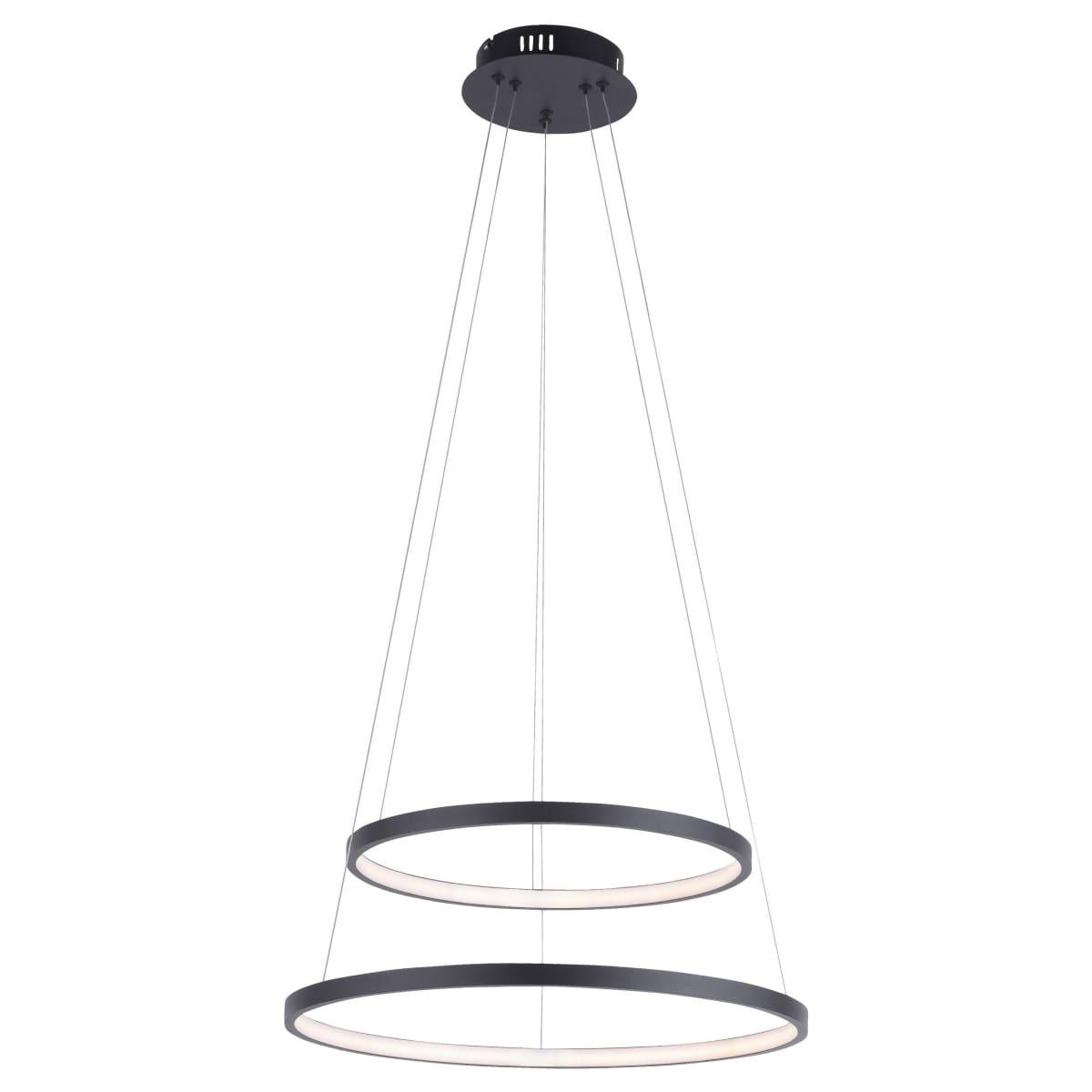 Hanglamp Circle Mat Zwart Led incl. Dimmer 50cm Ø