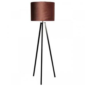 Vloerlamp Callas Zwart Kap Velours  Chocolate Brown