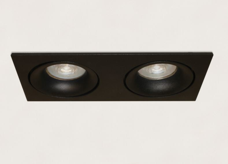 Inbouwspot Rechthoek Kantelbaar Zwart 2lichts GU-10