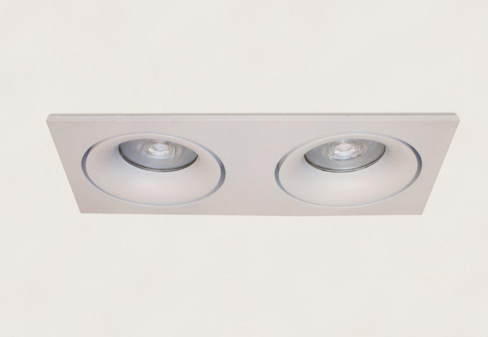 Inbouwspot Rechthoek Kantelbaar Wit 2lichts GU-10