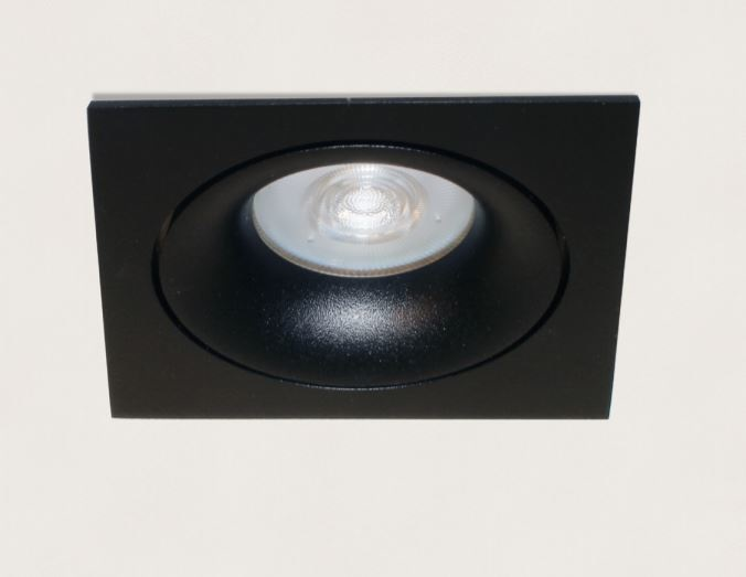 Artdelight Inbouwspot Vierkant Kantelbaar Zwart GU 10