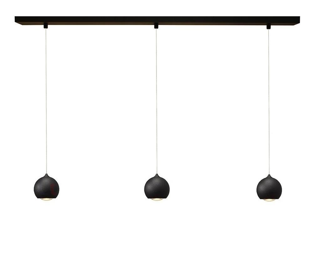 Hanglamp LED Denver Mat Zwart � 10cm 3 Lichts
