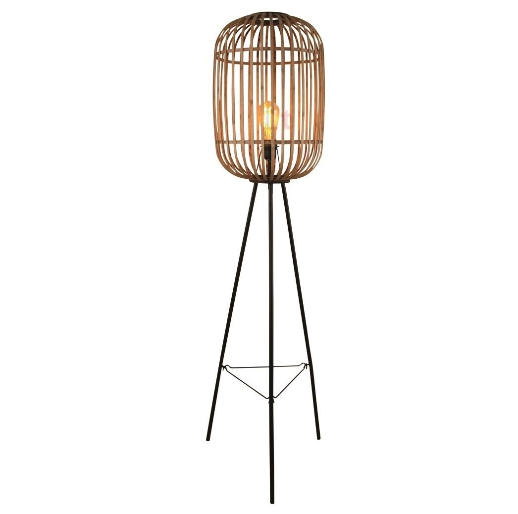 Vloerlamp Treccia Mat Zwart & Rotan 150cm