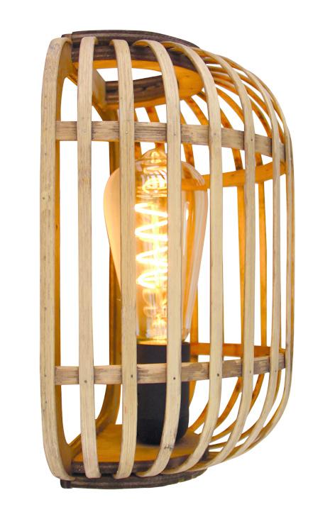 Wandlamp Treccia Zwart & Rotan incl. Snoerstel