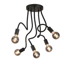 Plafondlamp Flex Zwart Mat Zwart 50cm 5 Lichts