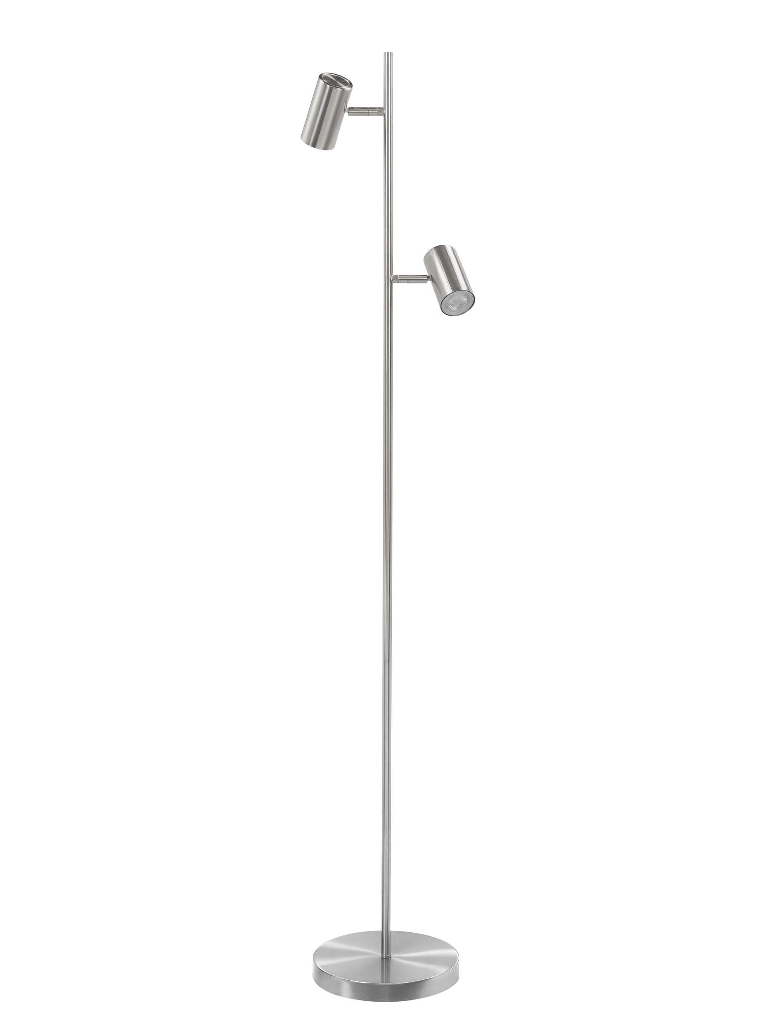 Vloerlamp Burgos RVS 2 lichts 142cm