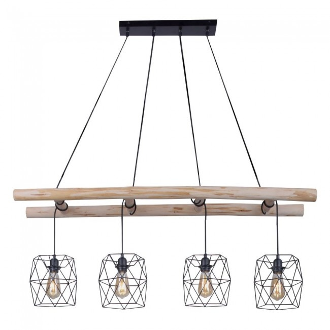 Hanglamp Edgar Hout 120cm 4 Lichts