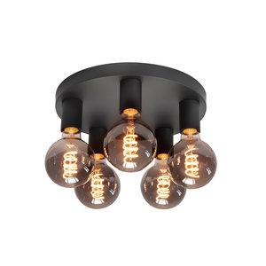Plafondlamp Basic Zwart 5 lichts Ø 30cm E27