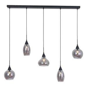 Hanglamp Macchia Zwart & Smoke Glas 5 Lichts