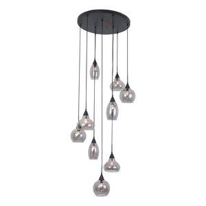 Hanglamp Macchia Zwart & Smoke Glas 9 Lichts