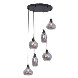 Hanglamp Macchia Zwart & Smoke Glas 6 Lichts