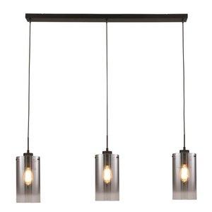 Hanglamp Ventotto Zwart & Smoke Glas 3 Lichts