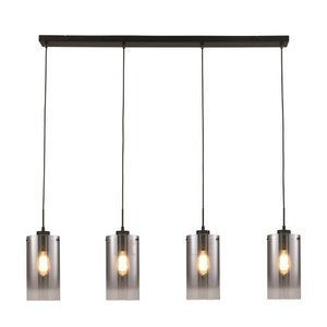 Hanglamp Ventotto Zwart & Smoke Glas 4 Lichts