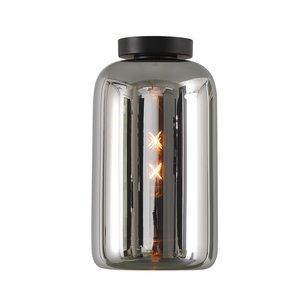 Artdelight Plafondlamp Botany Zwart & Smoke Glas 18cm