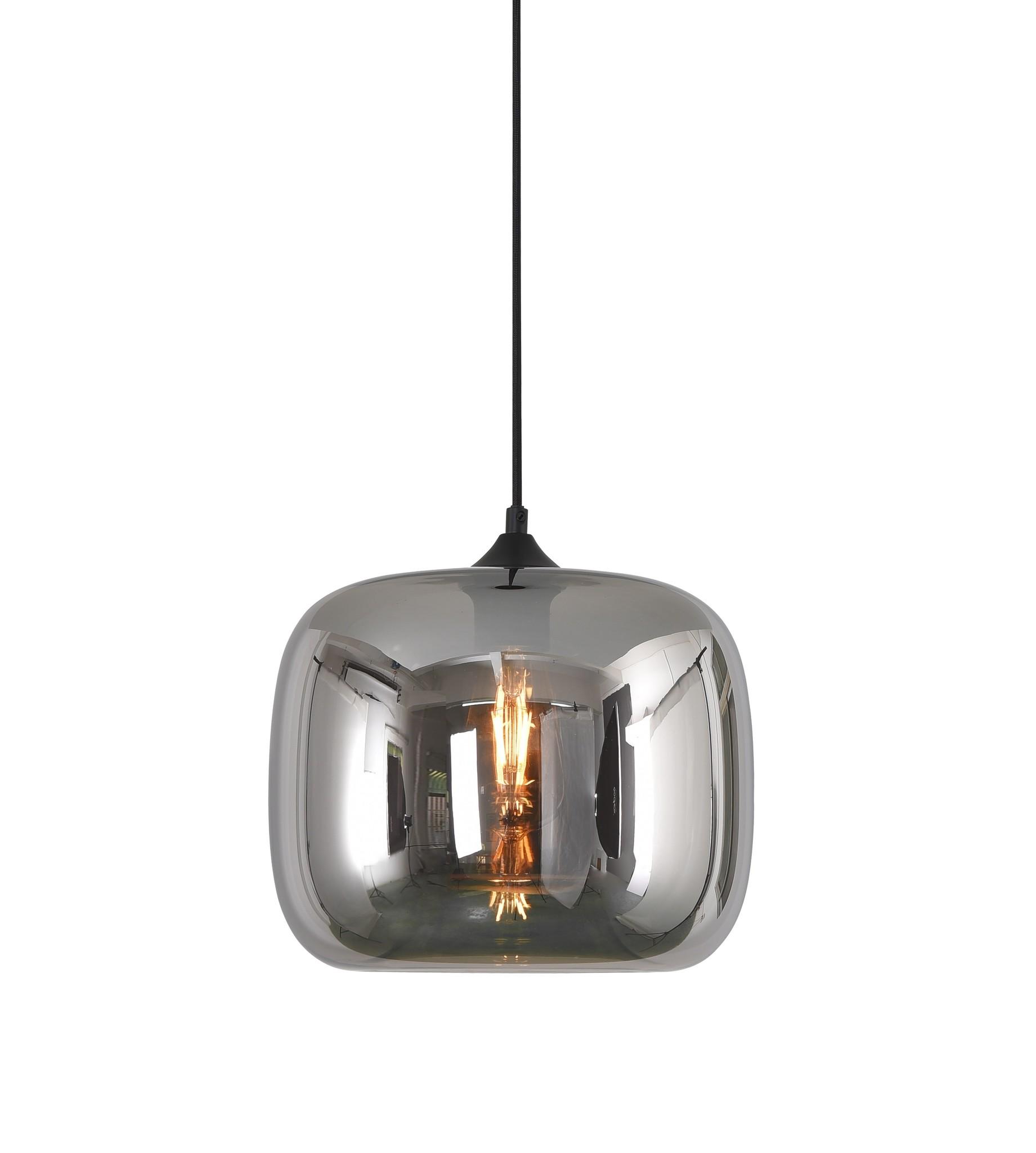 Hanglamp Preston Zwart & Smoke Glas 28cm