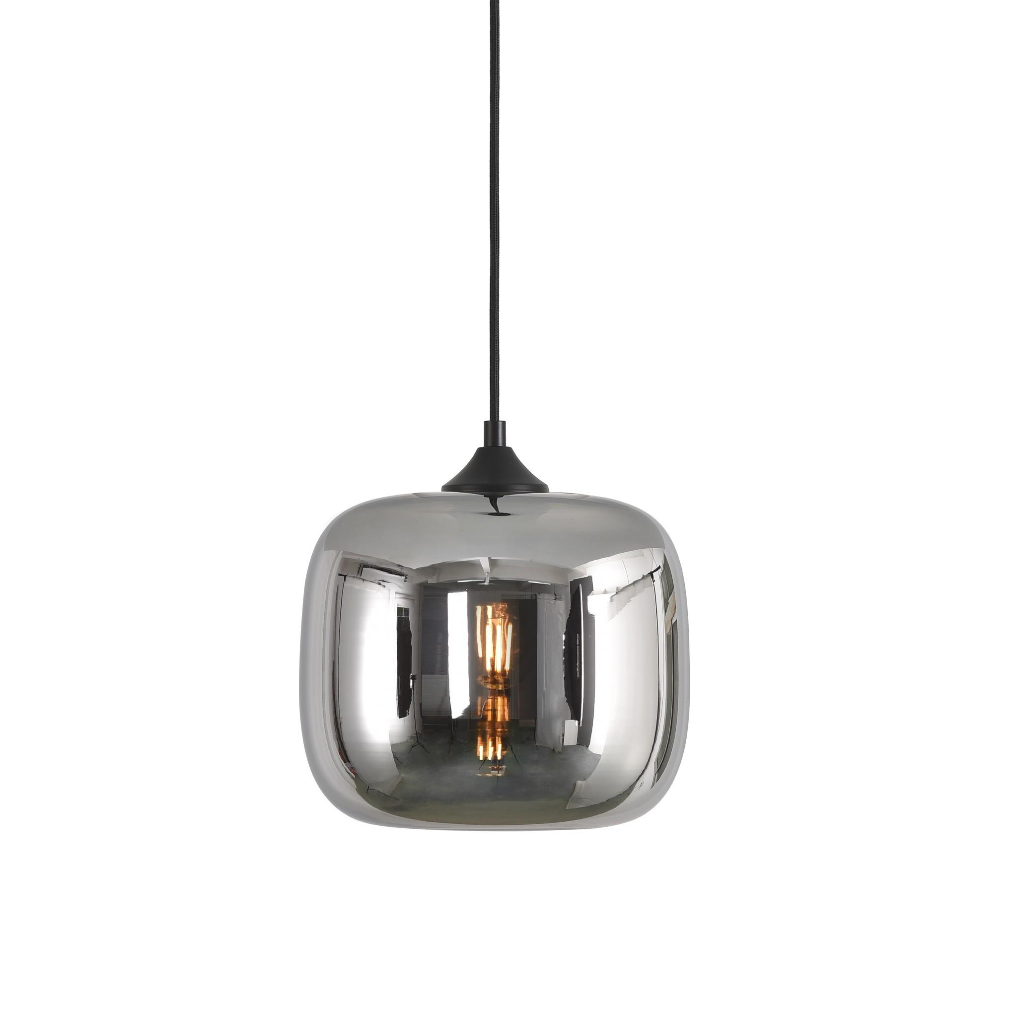 Hanglamp Preston Zwart & Smoke Glas 24cm