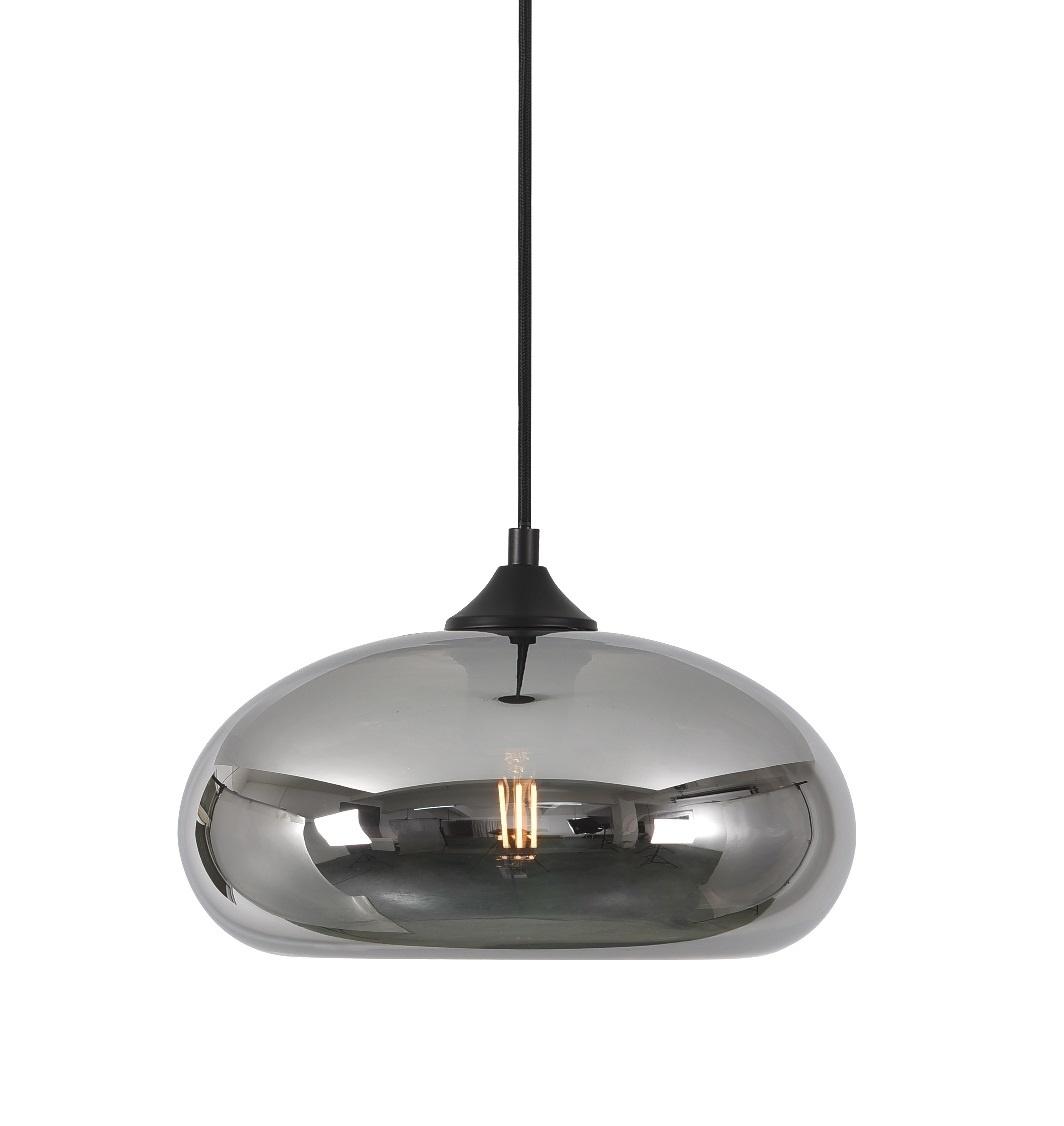 Hanglamp Paradise Zwart & Smoke Glas 28cm
