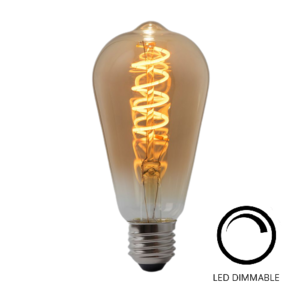 E27 4Watt Gold Spiraal 64mm  Dimbaar