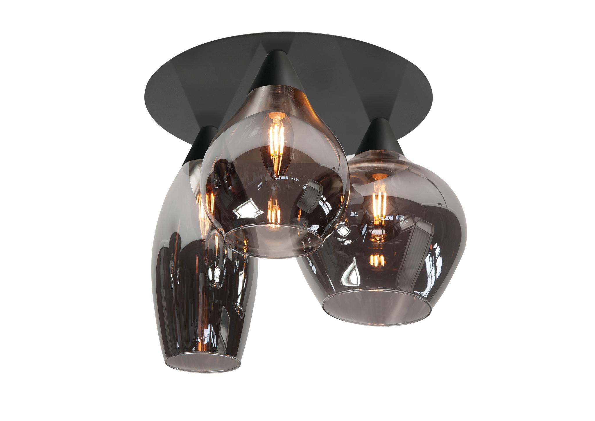 Plafondlamp Cambio Black & Smoke Glas 32cm � 3 Lichts