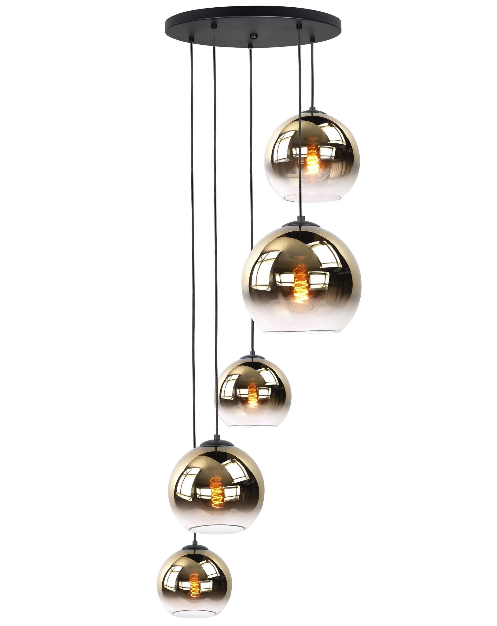 Hanglamp Balloon Gold Glas 5Lichts 160cm