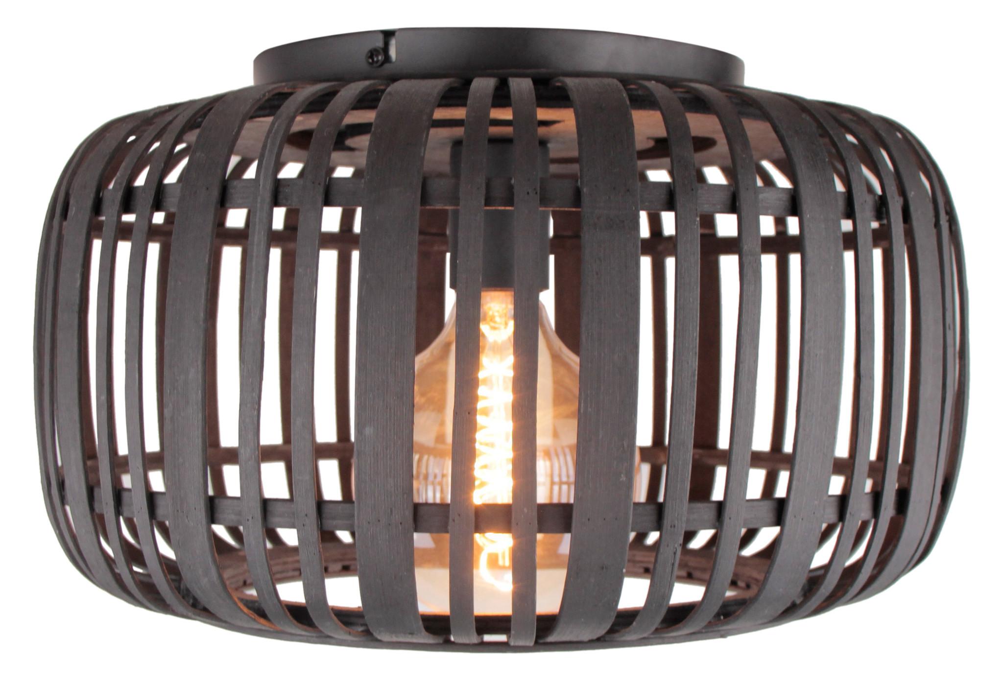 Plafondlamp Treccia Zwart & Rotan 40cm