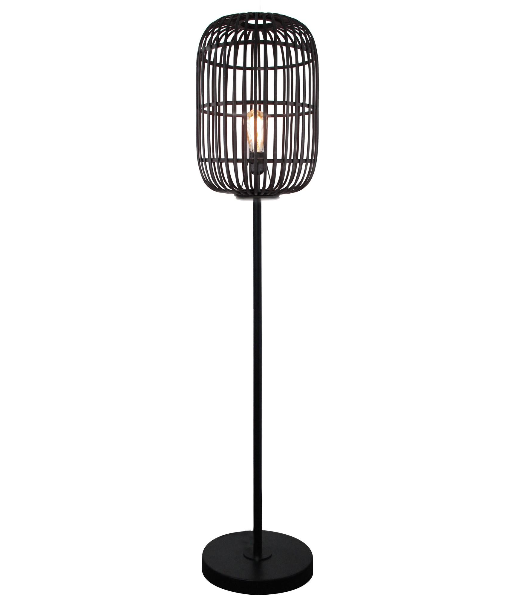 Vloerlamp Treccia Mat Zwart Rotan 175cm