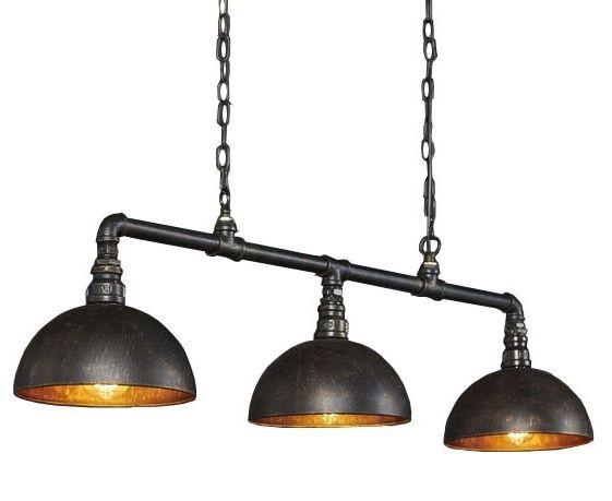 Hanglamp Industrial Tube 3 Lichts Zwart Bruin