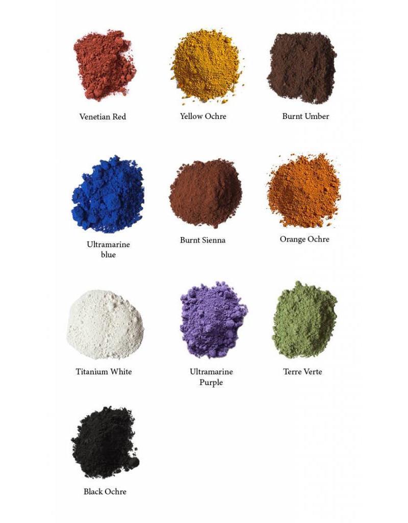 Natural Earth Paint Complete ecologische olieverf startset inclusief 10 kleuren, walnootolie en eco solve